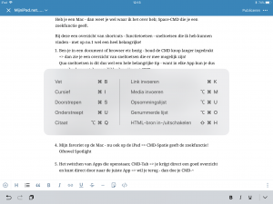 iPad keyboard sneltoets