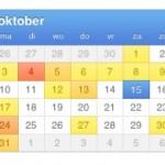 iOS5; Agenda - jaar overzicht met 'heat map'