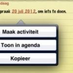 Datum in je email/notitie; maak activiteit!