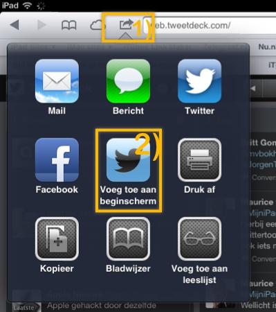 TweetDeckToevoegenBeginscherm