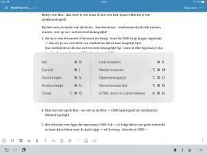 iPad keyboard sneltoets